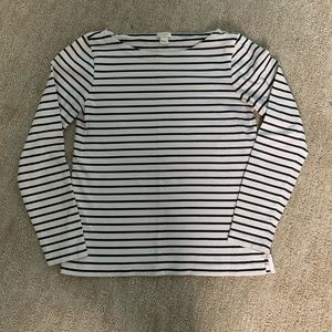 J Crew Factory Navy Cream Striped Long Sleeve Top